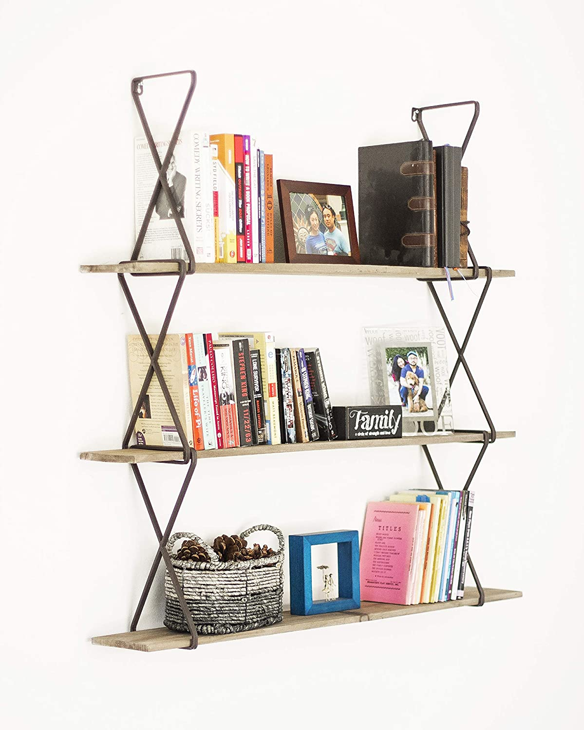Avignon Home 3 Tier Wall Mounted Hanging Bookshelves Floating Book Shelf Rustic Wood Bookcase for Storage, Display Decor Bookshelf Organizer