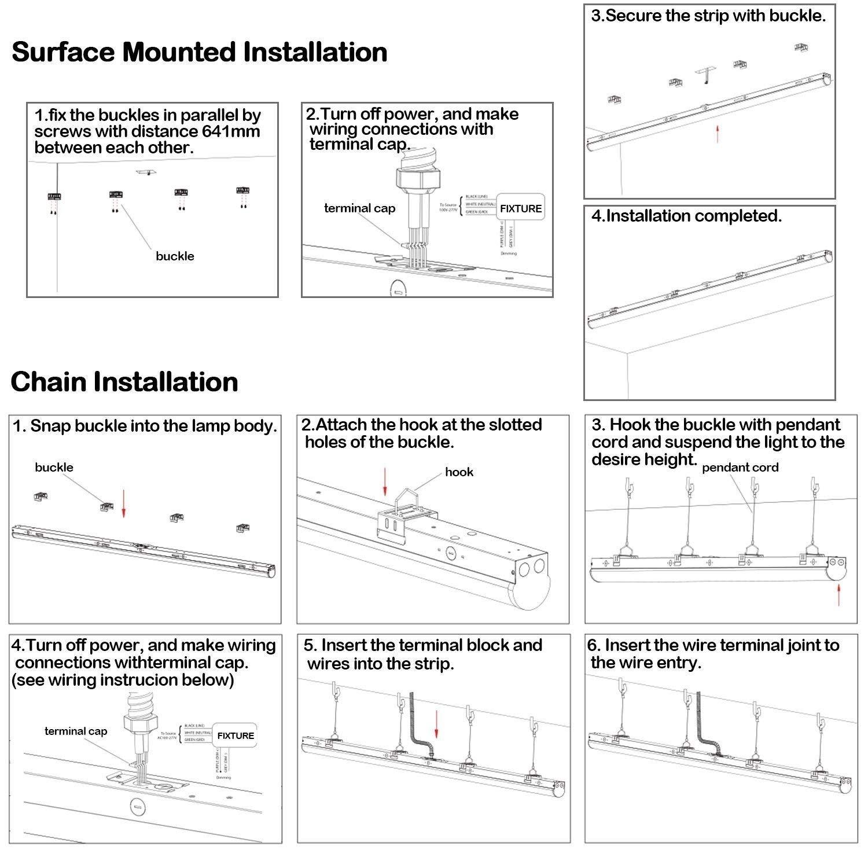 Hykolity 8ft Industrial Led Strip Light 64w 8400lm 5000k 0 10v Wiring Pendant Diagram Dimmable Low Bay Shop Lights Surface Mount Hanging Fixture With V Hook