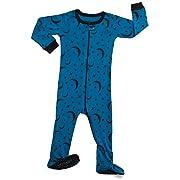 8368aa89cf304 Leveret Kids Organic Cotton Moon Baby Boys Girls Footed Pajamas Sleeper
