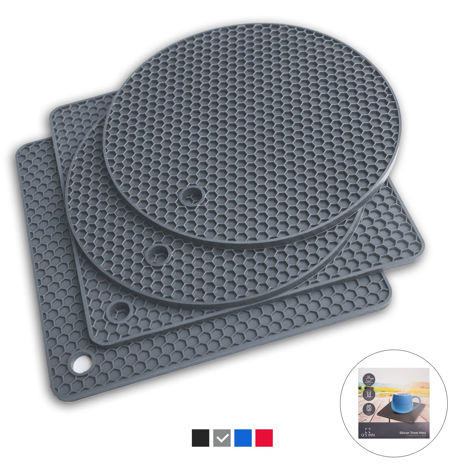 Q's INN Silicone Trivet Mats   Hot Pot Holders   Drying Mat. Our 7 in 1 Multi-Purpose Kitchen Tool is Heat Resistant to 440°F, Non-slip,durable, flexible easy to wash and dry and Contains 4 pcs