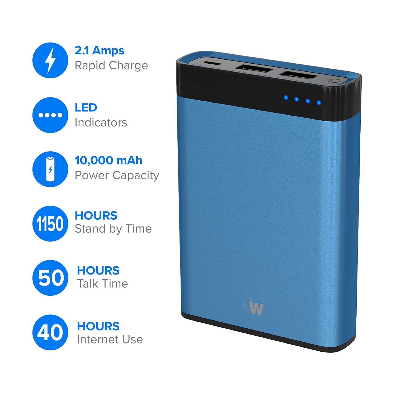 Just Wireless Portable Charger Power Bank External Battery Pack 10,000mAh Phone Charger for Apple iPhone Including XS, XS Max, XR, X, 8, 8 Plus, iPad, ...