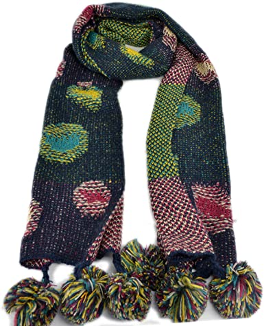 New multi color scarf with pom poms for girls