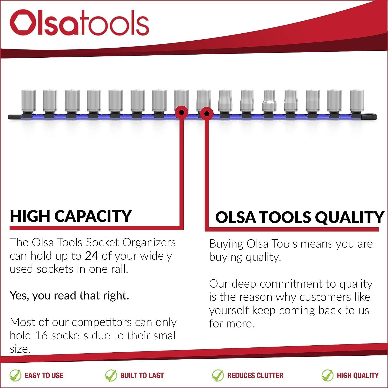 Olsa Tools Green 1//2-Inch Drive Aluminum Socket Organizer Premium Quality Socket Holder