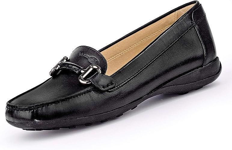 densidad Inspirar Marinero  Geox Women's Euxo 4 Leather Loafer with Bit Embellishment, Blk, 38 EU/8 M  US Driving Style, Black Oxford, 8: Amazon.co.uk: Shoes & Bags