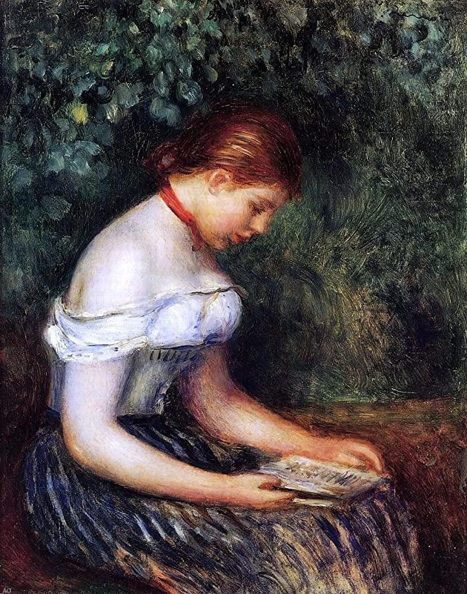 The reader Auguste Renoir with certificate Rare Lithograph on canvas cm 26x21 limited edition