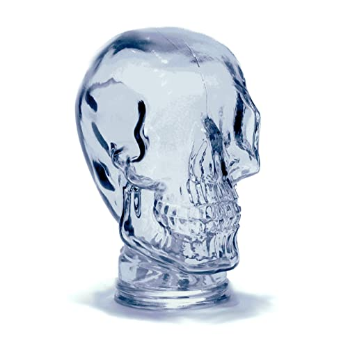 Recycled Spanish Glass Head, Skull, and Buddha for Decoration, Hat or Wig Stand, Headphone Stand, and More – Assorted Styles and Colors from Cerebrum Shoppe Skull – Lightly Tinted