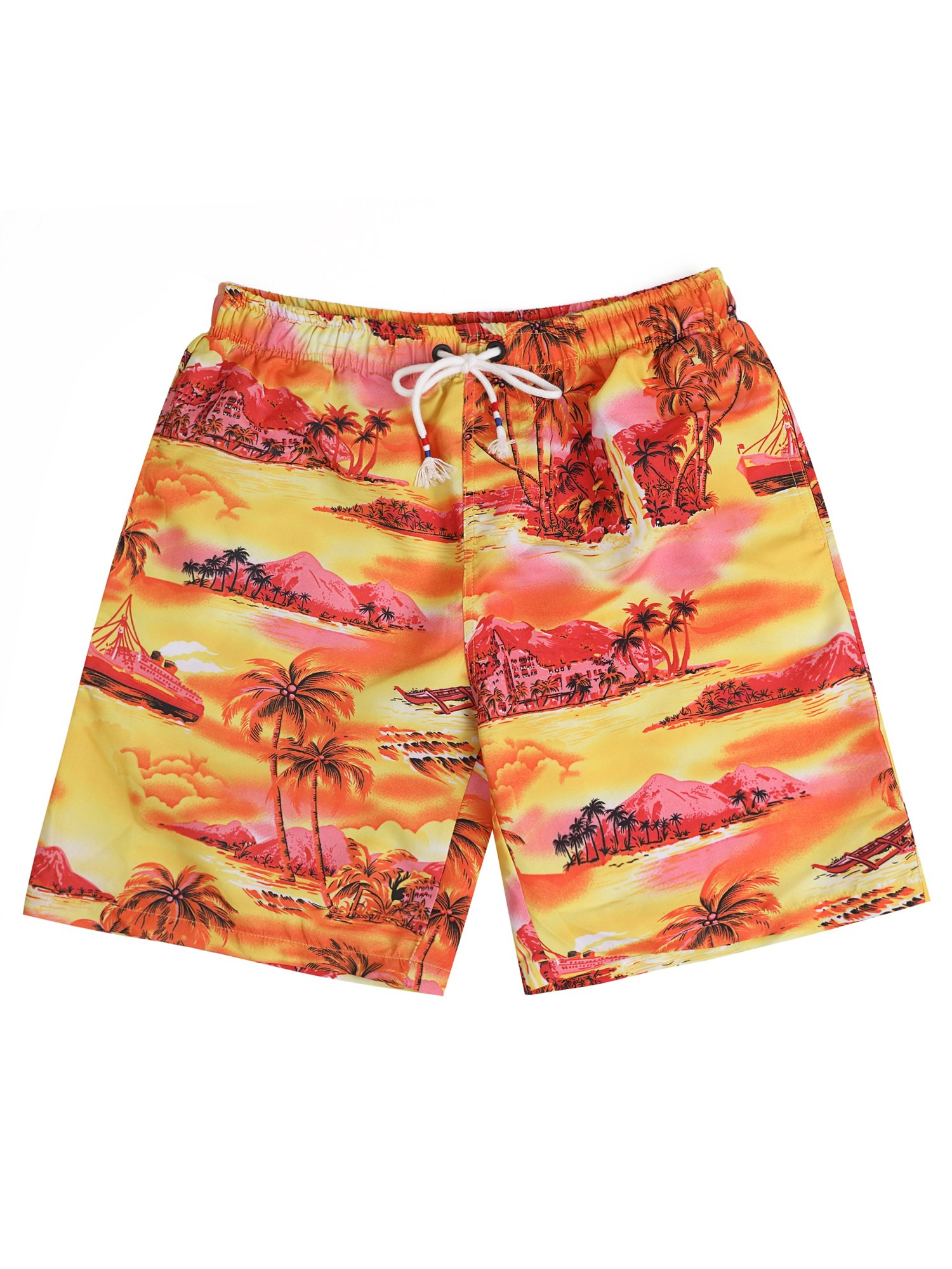 Hopioneer Men's Quick Dry Swimwear Beach Printed Tropical Hawaiian Swim Trunks - S