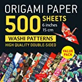 """Origami Paper 500 sheets Japanese Washi Patterns 6"""" (15 cm): High-Quality, Double-Sided Origami Sheets  with 12 Different Des"""
