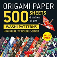 """Origami Paper 500 sheets Japanese Washi Patterns 6"""" (15 cm): High-Quality, Double-Sided Origami Sheets with 12 Different…"""