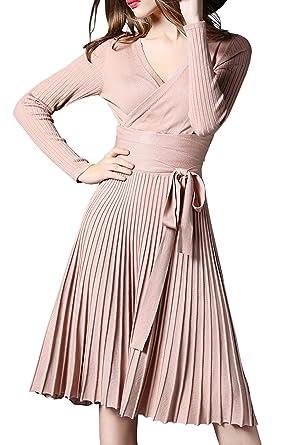 5afb422083f R.Vivimos Women Autumn Long Sleeve V Neck Elegant Knitted Slim Knee-Length A