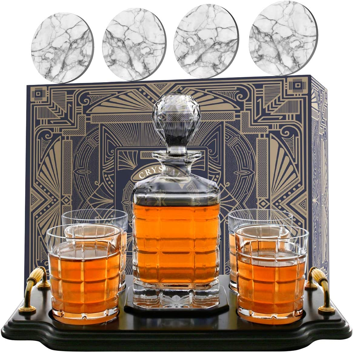 860ml Capacity Scotch Perfect Dad Gifts and Wood Base Includes Whiskey Glasses Whiskey Decanter Set etc Liquor Coasters KROWN KITCHEN for Bourbon