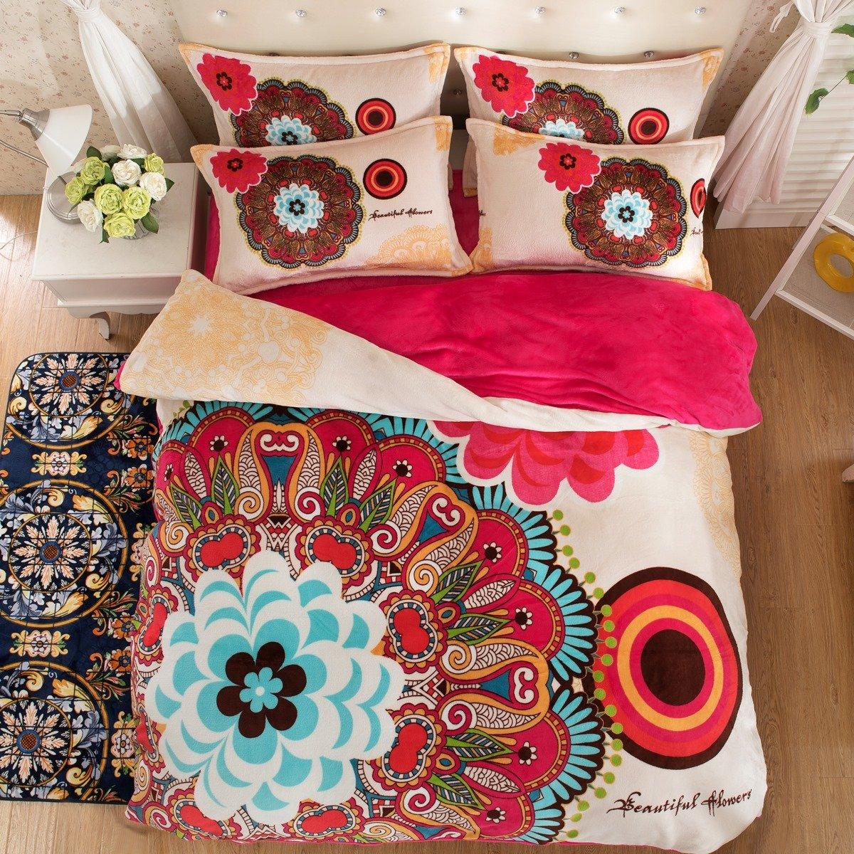 TheFitペイズリーボヘミアン寝具for Adult u2009 Boho花布団カバーセットFarleyベルベット、クイーンセット、4ピース B06XTSCG46