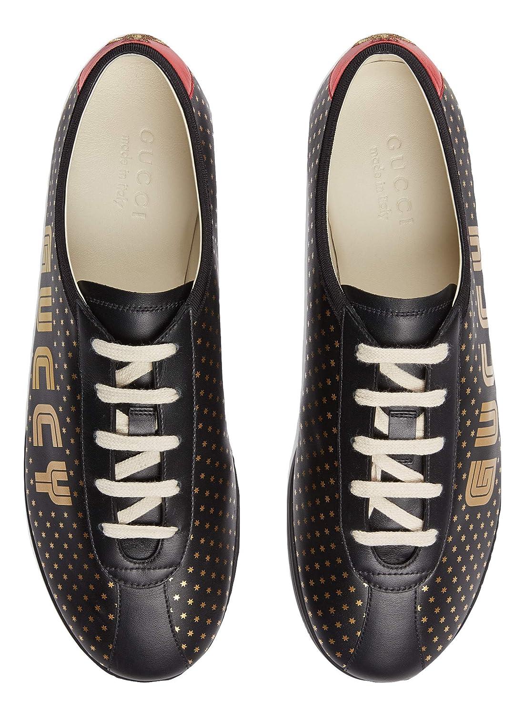 Gucci Scarpe Sneaker Guccy Falacer in Pelle Anni  80 Nero 519723 0G270 1079  Colore Nero con Stelle  Amazon.it  Scarpe e borse fd684c669e5