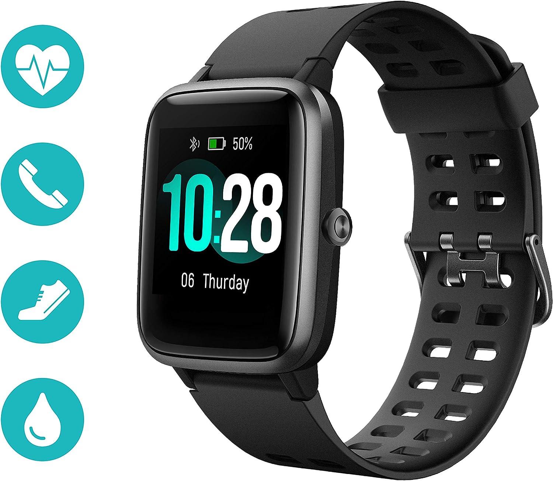 Huyeta Smartwatch Reloj Inteligente 5ATM Impermeable Pulsera Actividad Inteligente Reloj Deportivo con Pantalla Táctil Completa Pulsómetro Cronómetros para iPhone iOS Android (Negro)