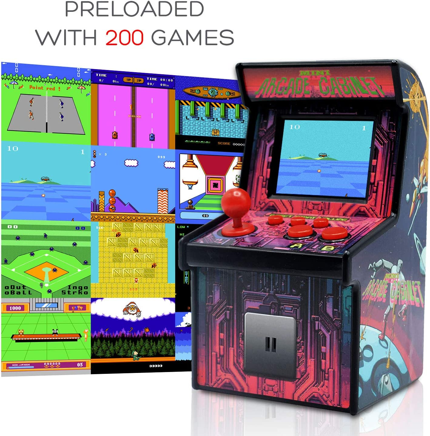 Funderdome Retro Mini Arcade Game Portable Gaming Console for Kids with 200 Classic Video Games