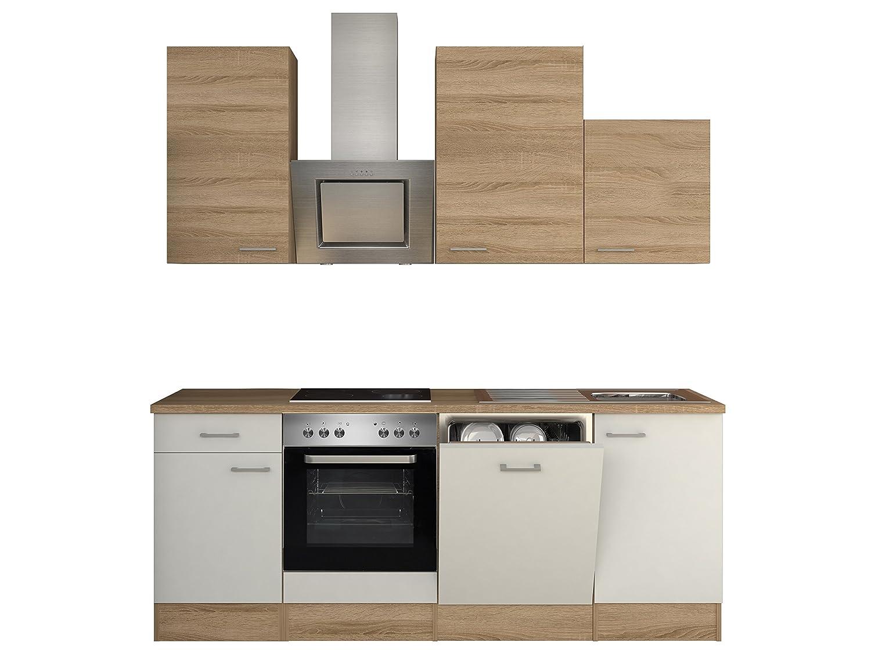 Flex-Well 00008220 Küchenzeile Samoa 220 cm weiß, Sonoma Eiche inklusive Elektrogeräte und Einbauspüle