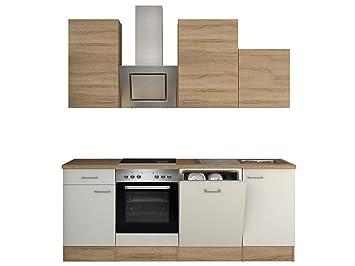 Flex-Well 00008220 Küchenzeile Samoa 220 cm weiß, Sonoma Eiche ...