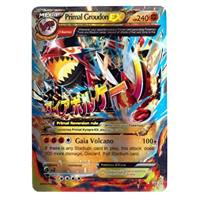 """Mega Primal Groudon EX 86/160 English Card Normal Size 2.5"""" x 3.5"""" in Sleeve and Safe Box Flash Light Card Free 1 EX Random in Pack: Toys & Games"""