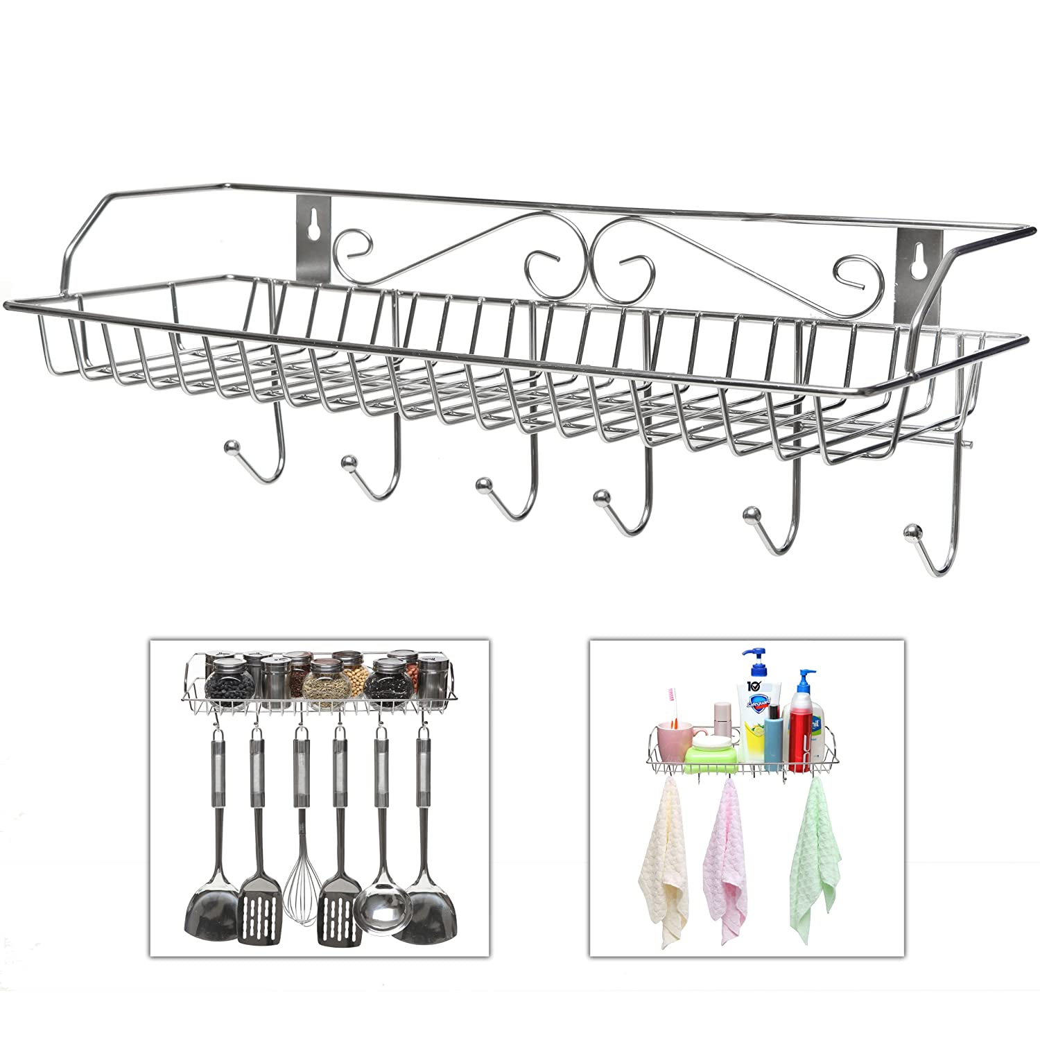 amazon com stainless steel metal wall mounted organizer hanger