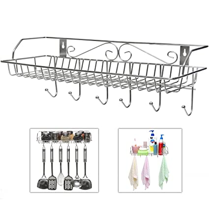 Delicieux Stainless Steel Metal Wall Mounted Organizer Hanger / Storage Rack W/ Top  Basket Shelf,
