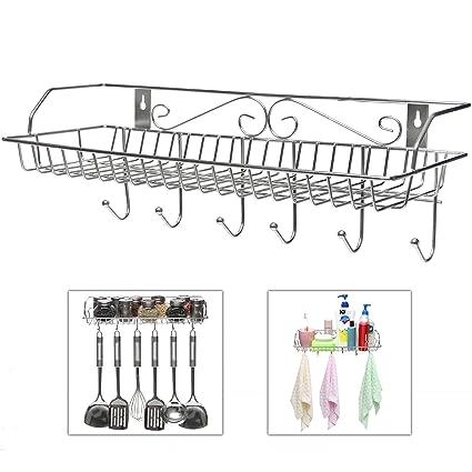 Delicieux Stainless Steel Metal Wall Mounted Organizer Hanger / Storage Rack W/ Top  Basket Shelf,