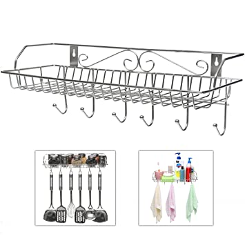 Amazon.com: Stainless Steel Metal Wall Mounted Organizer Hanger ...