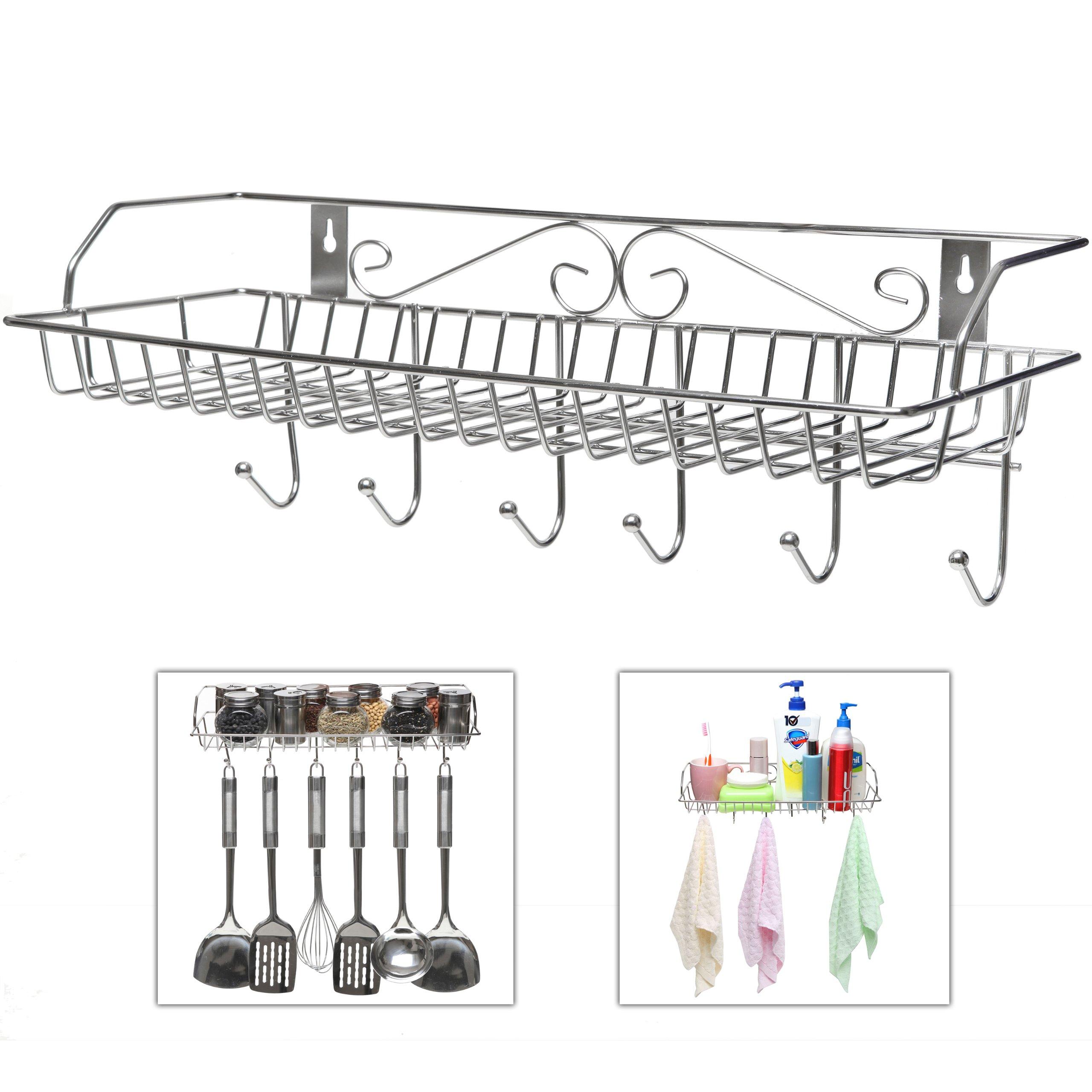 MyGift Stainless Steel Metal Wall Mounted Organizer Hanger/Storage Rack w/Top Basket Shelf, 6 Utility Hooks