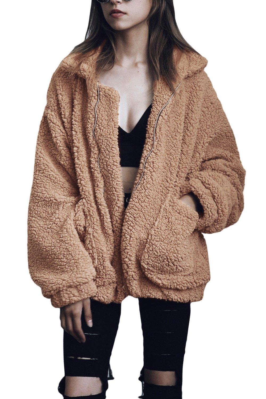 Yacun Women Winter Faux Lambswool Fluffy Jacket Fuzzy Coat Outwear CAChjT0647