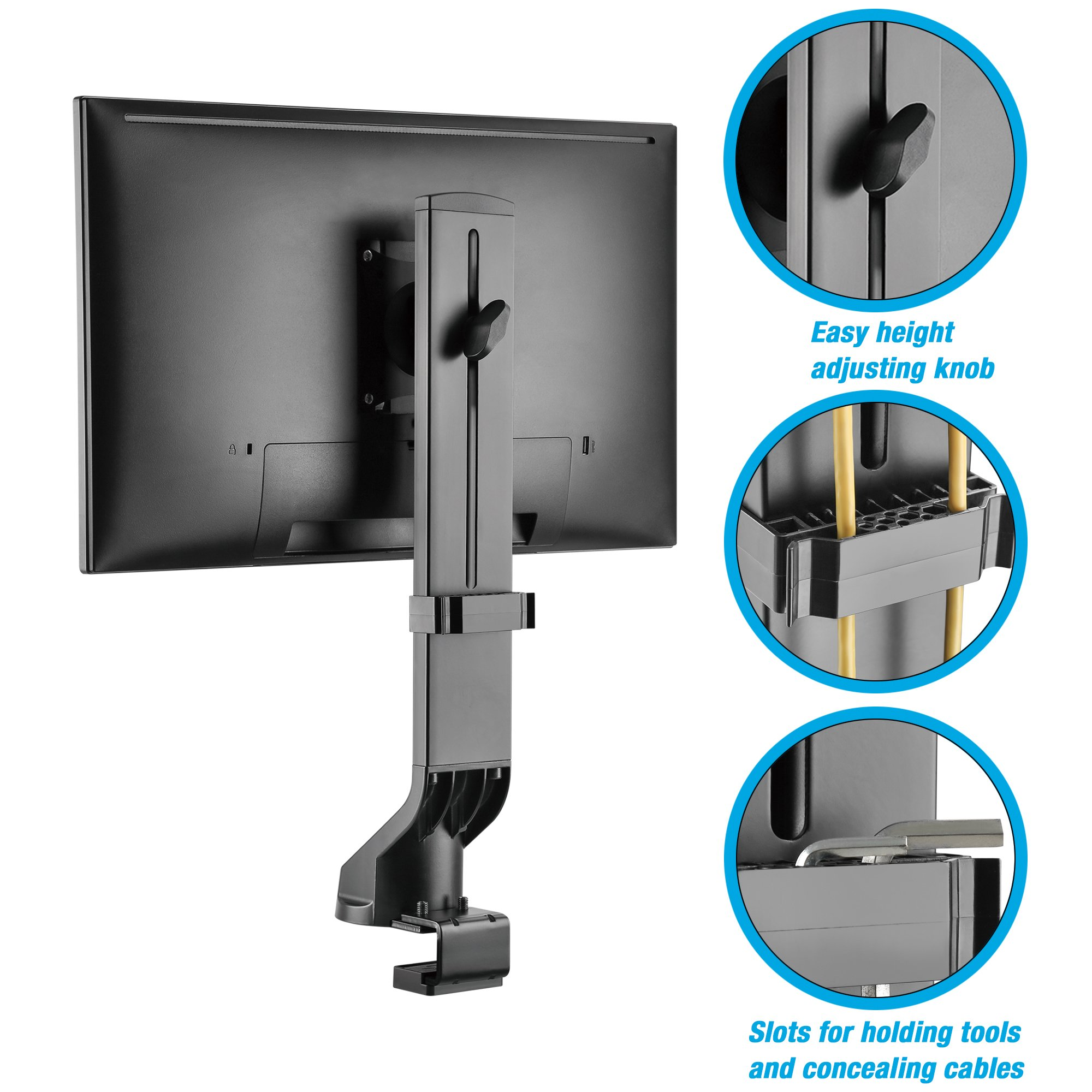 AVLT-Power Single Monitor Mount for Standing Desk Workstation - Extra Height Adjustment Range - Heavy Duty - Holds 17'' to 32'' Screens, up to 17.6 lbs, VESA 75x75mm 100x100mm by AVLT-Power (Image #4)