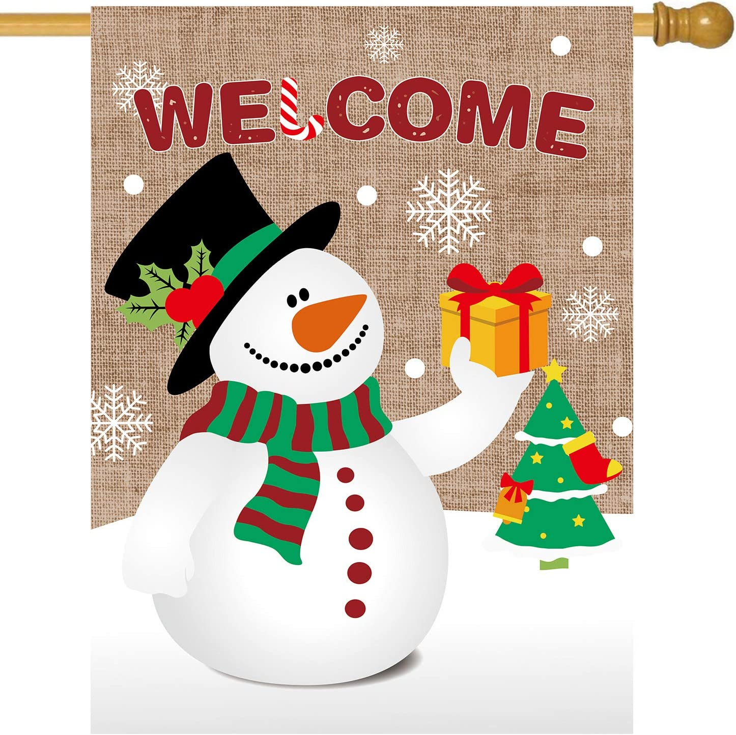 MIDOLO Christmas Burlap Welcome Garden House Flags with Snowman for Merry Christmas Winter Holiday Decorations, Indoor/Outdoor Yard Flags, Double-Sided, Gift for Kids Children (House Size-28 x 40)