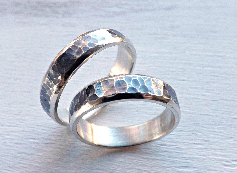 Unique Wedding Ring.Amazon Com Rustic Wedding Ring Set Silver Wedding Bands Matching