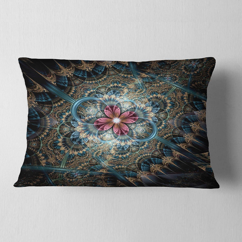 12 x 20 Designart CU7252-12-20 Dark Purple Fractal Flower Throw Pillow