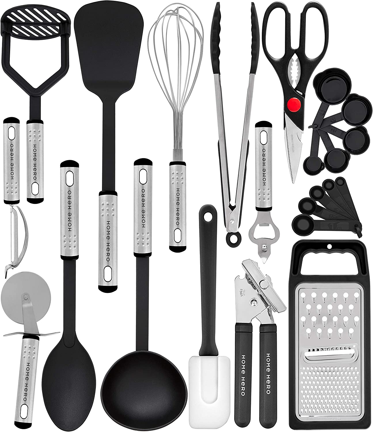 Everything You Need For Cooking Included Measuring Spoons included Heat Resistant up to 450 Degrees Best Christmas Gift Ever Chef essential 23-Pc Stainless Steel Kitchen Utensil Set Easy to Clean