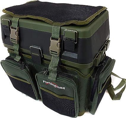 Fishingmad Siege Boite De Rangement Pour Materiel De Peche Avec Et Sac A Dos Seatbox And Backpack Carrier Amazon Fr Sports Et Loisirs