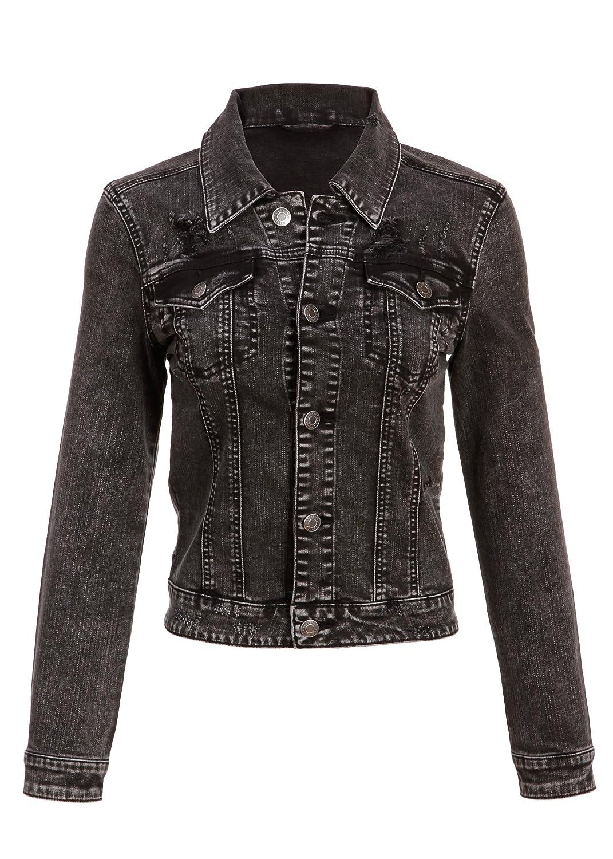 5e9ed3121fc Womens Embroidered Appliqué 'Rock N ROLL' Black Denim Jean Jacket - Size  Large at Amazon Women's Coats Shop