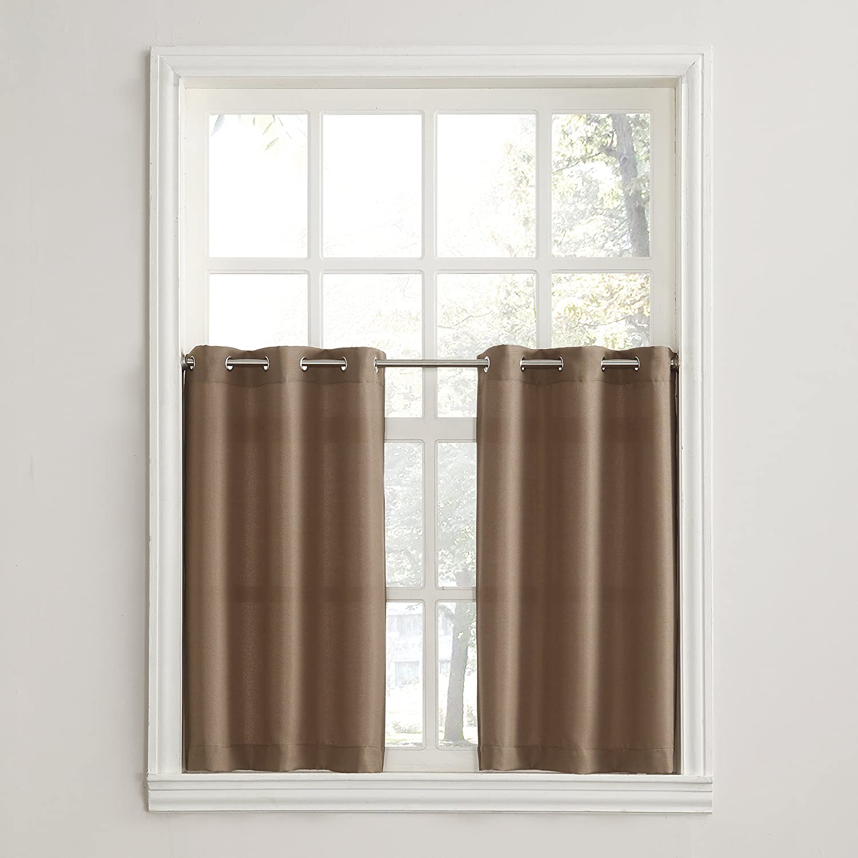 No. 918 Montego Grommet Textured Kitchen Curtain Valance, 56 x 14, Paprika Red 56 x 14 42408