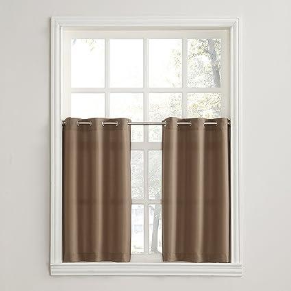 No. 918 Montego Grommet Textured Kitchen Curtain Tier Pair, 56 x 36, Mocha Brown