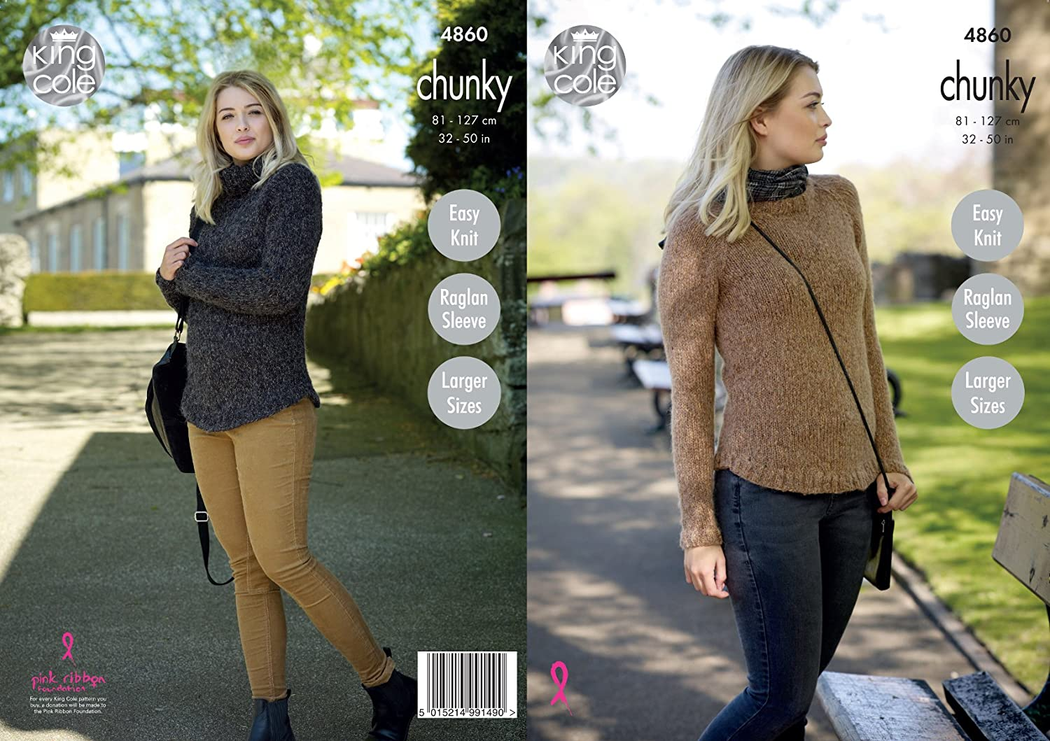 Womens Chunky Knit Knitting Pattern Ladies Ribbed Sweater Jumper King Cole 3838