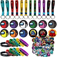 Among Us Party Supplies 126 Pcs Party Favors Set Include 14 Bracelets, 12 Button Pins, 100 Stickers for Video Game…