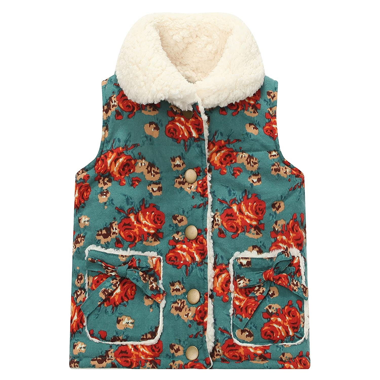 Richie House Girls' Light Weight Padding Vest with Sherpa Fleece Lining RH1241