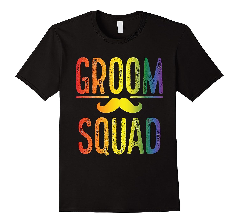 Mens Bachelor Party Shirt Gay Pride Groom Squad Moustache-Vaci