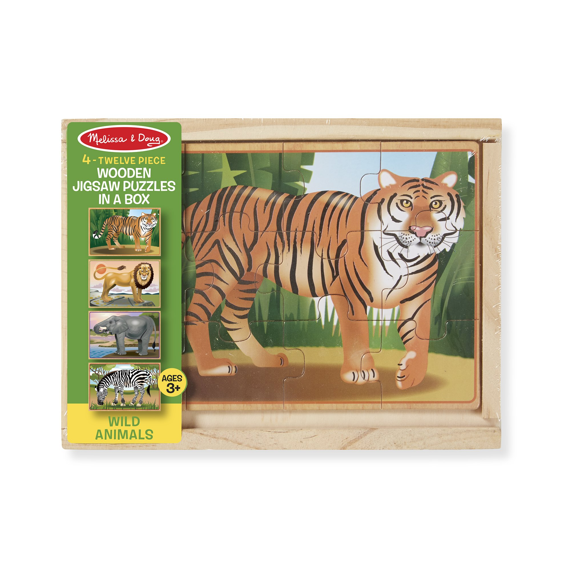 Melissa /& Doug Wild Animals 4 in 1 Wooden Jigsaw Puzzles in a Storage Box 48 pcs