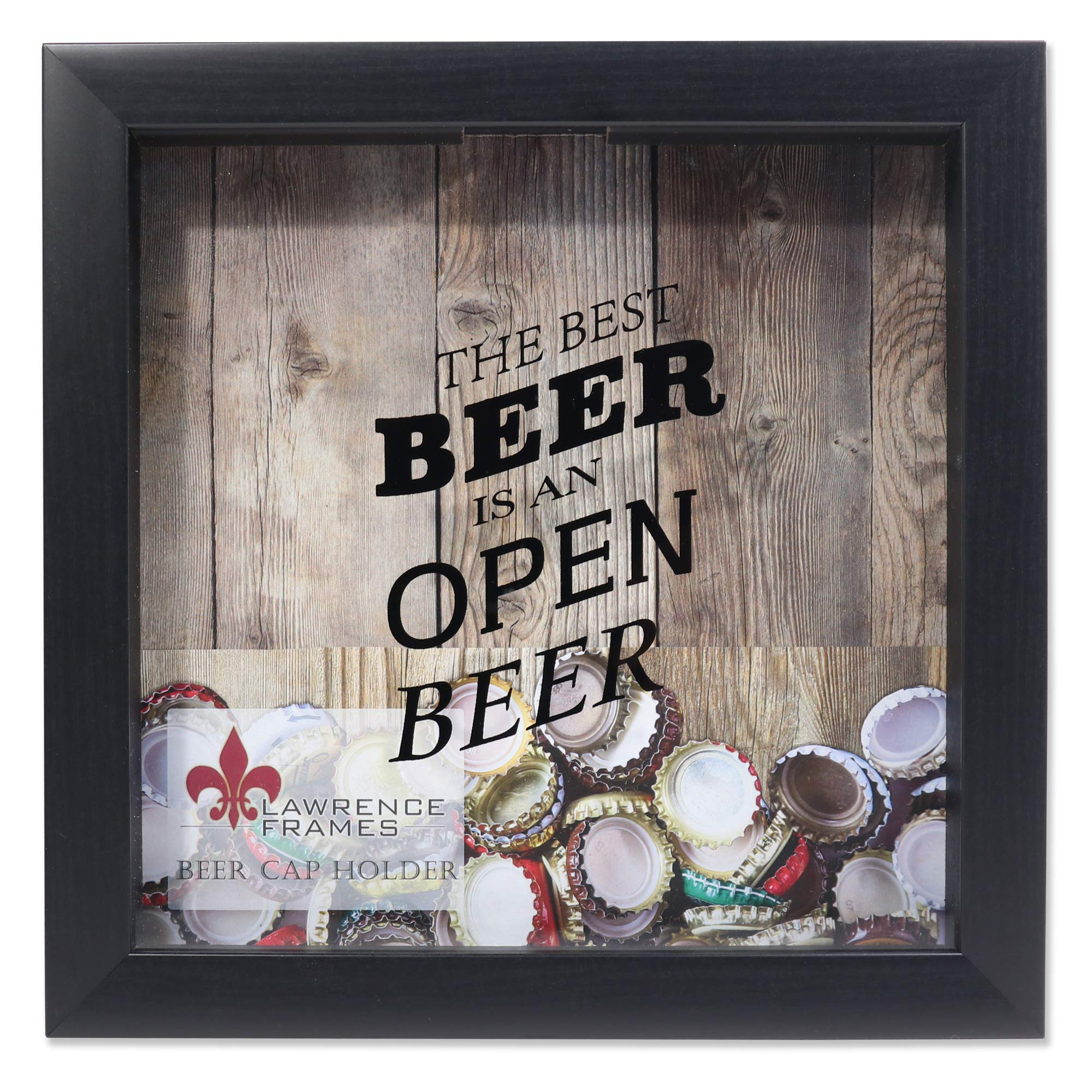 Lawrence Frames 10x10 Black Beer Cap Holder Shadow Box, by Lawrence Frames