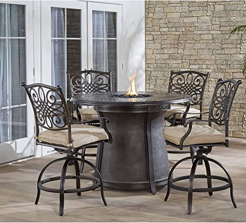 Hanover TRAD5PCFPRD-BR Traditions 5-Piece High-Dining Set Outdoor Furniture