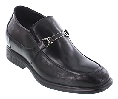 Y3107-3 inches Taller - height Increasing Elevator Shoes - Black Leather Slip-On Dress Shoes