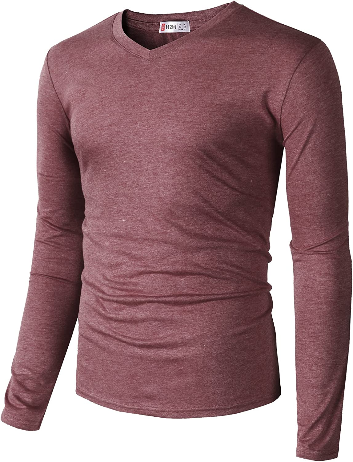 H2H Men Casual Slim Fit T-Shirt Long Sleeve Spandex Blended Henely T-Shirt