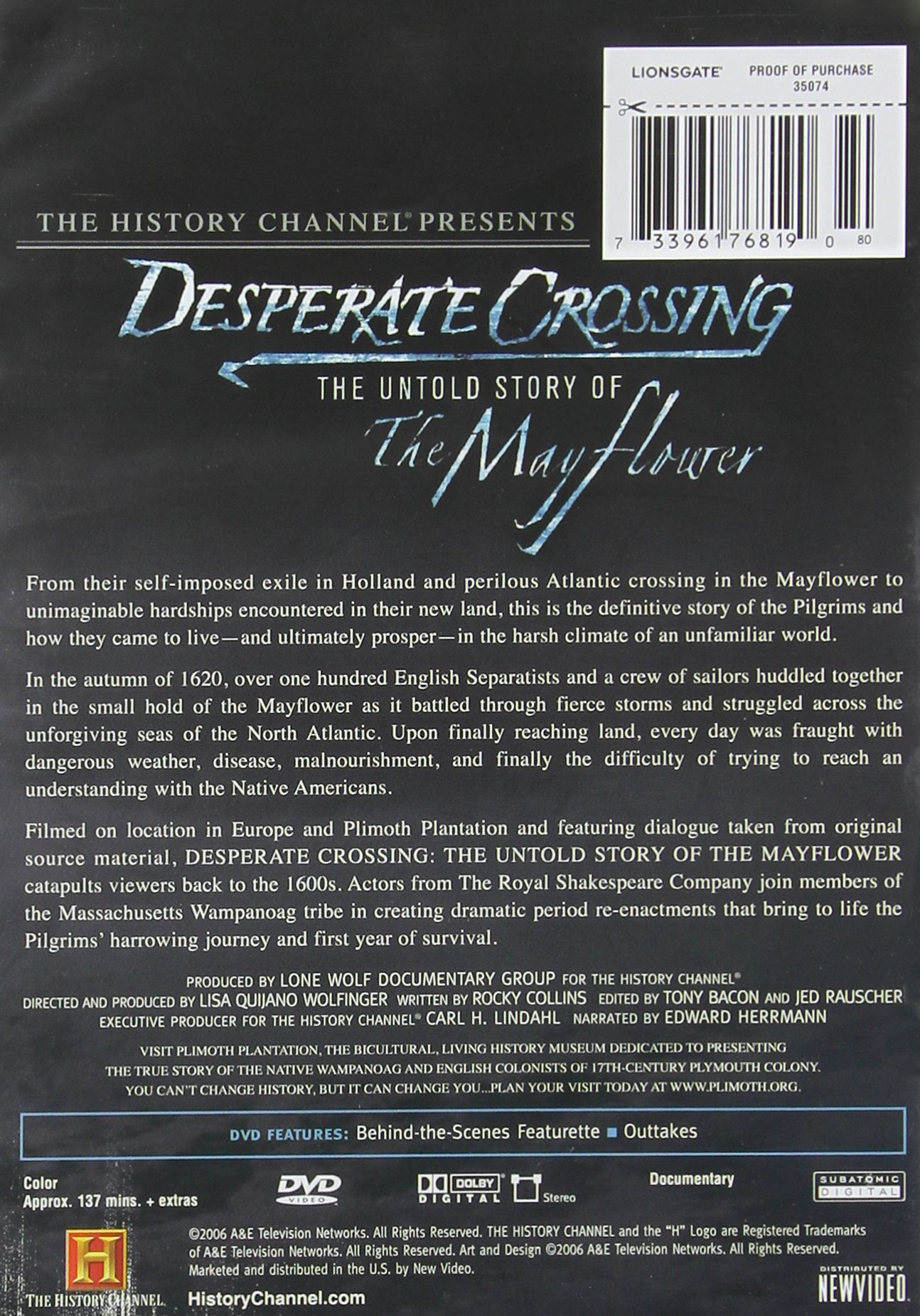 Desperate Crossing: Mayflower by A&E