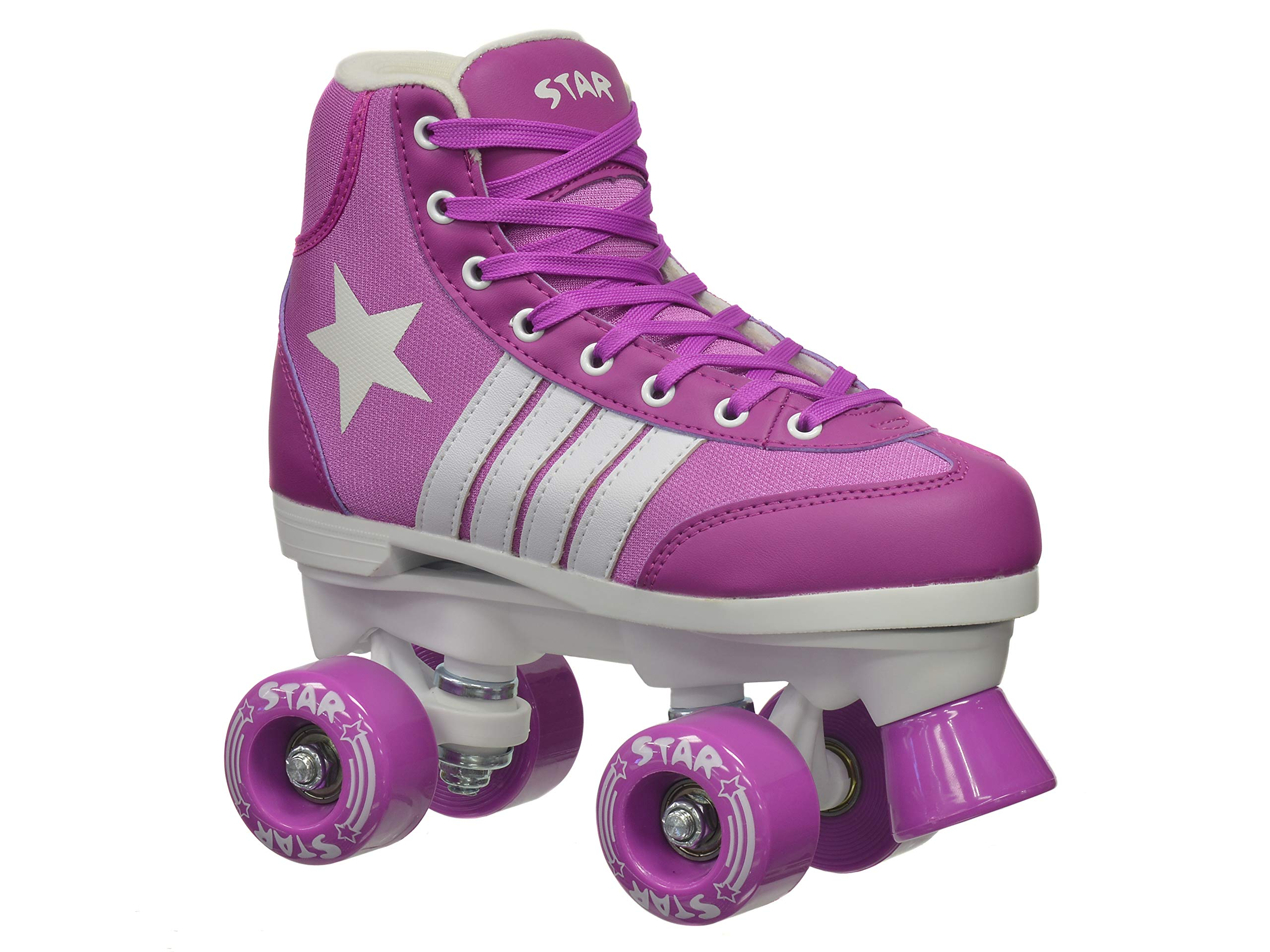 New! Epic Star Pegasus Indoor Outdoor Classic High-Top Quad Roller Skates w/ 2 Pair of Laces (Purple & White) (Adult 6)