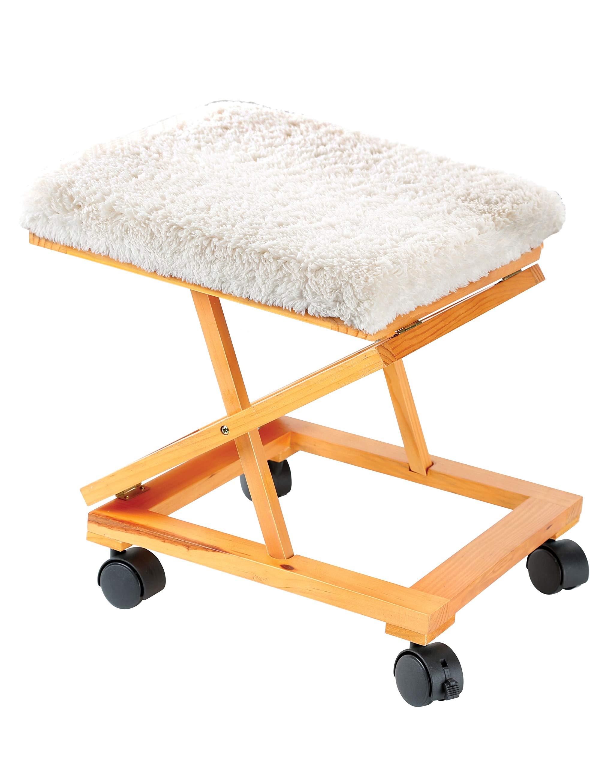 Rolling Adjustable Fold-A-Way Fleece Cushion Foot Rest