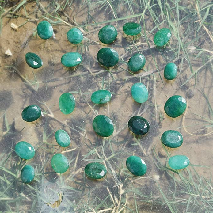 90.60 Ct Natural Certified Colombian Green Emerald Loose Gemstone Lot 9Pcs #15